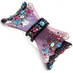 *USA* HAIR CLIP Acrylic Austria Crystal PIN Claw swirl bow-k