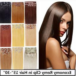 USA STOCK 20 inch remy human hair clip In Extensions 7pcs&70