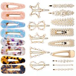 USA Women Girls Pearl Hair Clip Set Charm Bobby Pin Hairpin