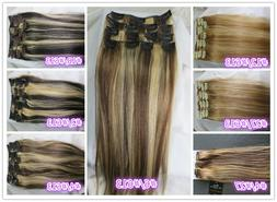 USPS Full Head Women Clip in 100% Real Soft Human Hair Exten