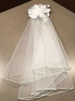Veil Wedding Bridal Shower Veil Simple white, 17 in - clip V
