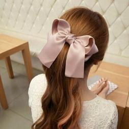 Vintage Girls Women Hairpin Hair Clamp Ribbon Large Bow Clip