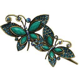 Newstarfactory Vintage Green Butterfly Jaw Rhinestones Hair