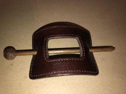 vintage leather hair bun clip barrette retro
