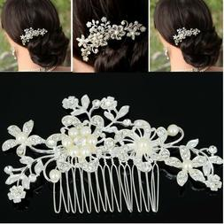 Vintage Look Wedding Bridal Rhinestones Pearl Beads Flower L