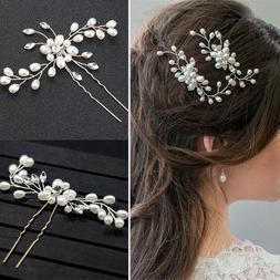 Women's Bridal Weddings Pearl Crystal Rhinestone Hair Clip B