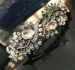 Vintage silver Tone Flower Rhinestone clear Color Hair Clip