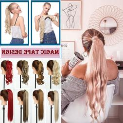 Wavy Straight Wrap Ponytail Real Natural Pony Tail Hair Clip