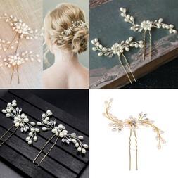 Wedding Bridal Pearl Flower Crystal Hair Pins Bridesmaid Cli