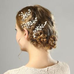 Wedding Bridal U-shaped Crystal Pearl Hair Pins Clip Side Co