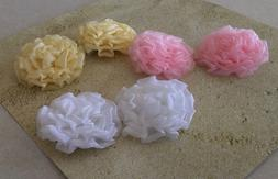 Handmade White or Yellow Organza 3 Inch Rose Hair Clips