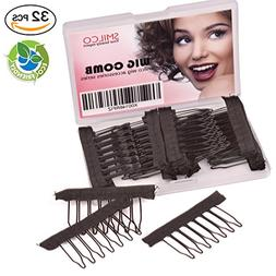 Smilco Wig Clips Pack of 32PCS Metal Wig Combs for Wig Caps