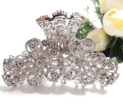 Woman Rhinestones Crystal flowers design metal hair claws cl