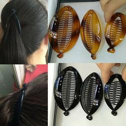 Women Banana Hair Clip Black Plastic Fish Folder Hairpin Pon