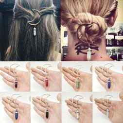 Women Boho Moon Hair Clip Natural Stone Pendant Hair Comb Ha