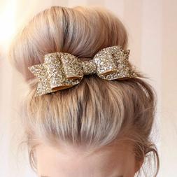 Women Bowknot Bow Crystal Hair Clip Hairpin Girls Barrette A