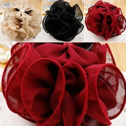 Women Chiffon Rose Flower Bow Bun Jaw Clip Barrette Hair Cla