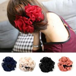 Women Chiffon Rose Flower Bow Jaw Clip Barrette Hair Claw Ac