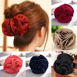 Women Chiffon Rose Flower Bow Jaw Hair Clip Barrette Hair Cl