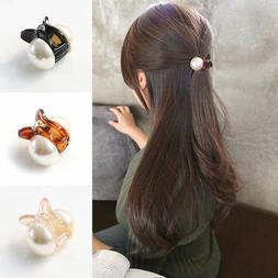 women elegant crystal hair clip pearl hairpin