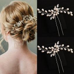 Women Elegant Wedding Crystal Pearl Flower Hair Pins Charm B