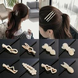 Women Exquisite Pearl Hair Clip Snap Barrette Stick Hairpin