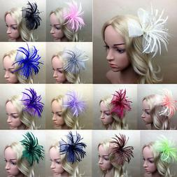 Women Feather Headband Hat Lace Hair Clip Fascinator Cocktai