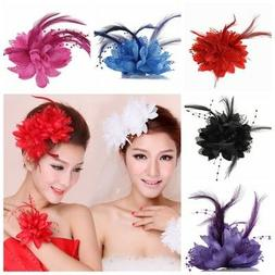 Women Girls Flower Feather Hair Clip Headwear Wedding Party