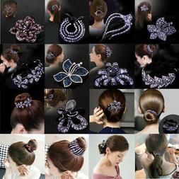 Women Girls Hair Clip Crystal Claw Clamp Ponytail Bun Holder