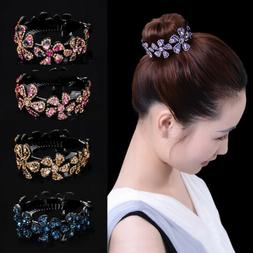 Women Girls Hair Clip Crystal Claw Ponytail Bun Holder Comb