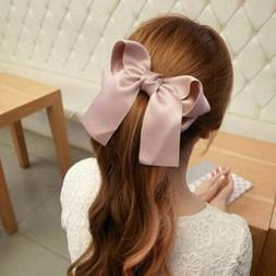 Women Girls Large Big Satin Hair Band Hair Clip Boutique Rib