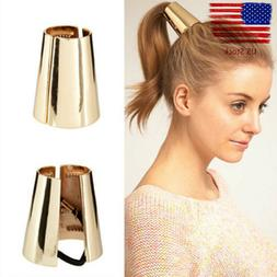 Women Girls Metal Elastic Ponytail Holder Hair Cuff Wrap Tie