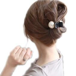 Women Girls Pixnor Pearl and Rhinestone Decorated Hair Clip