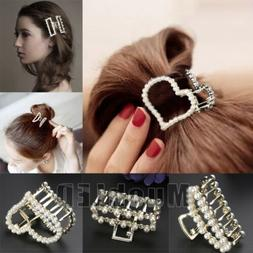 Women Girls Retro Gold Silver Metal Pearl Hair Clip Snap Bar