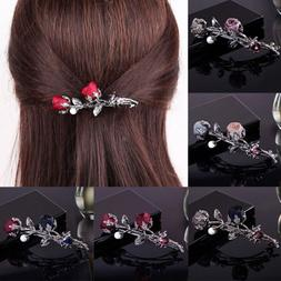 Women Hair Accessories Rose Flower Crystal Pearl Barrette Ha