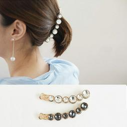 women hair clip pearl crystal hair holder banana shape headw