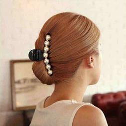 Women Jaw Clip Rhinestone Pearl Decor Claw Clip Hair Clip Ha