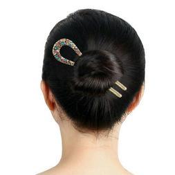 Women Jewelry Simple U-Shape Hairpin Vertical Clip Rhineston