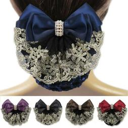 Women Lace Satin Bow Cover Decor Barrette Lady Hair Clip Bow