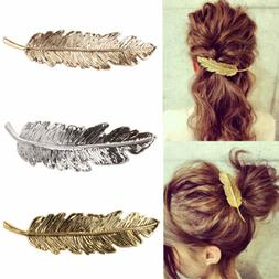 Women  Leaf Feather Hair Pin Jewelry Women Vintage Hair Clip