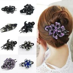 Women Luxury Large Crystal Rhinestone Hair Clip Hair Claw Ha