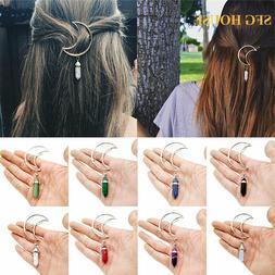 Women Moon Crystal Barrette Hairpin Set Hair Clip Grip Pearl