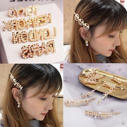 Women Pearl Letter Hair Clip Barrette Bobby Pin Stick Hairpi