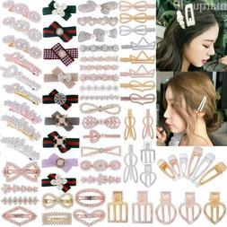 Women Pearl Metal Hair Clip Snap Barrette Stick Hairpin Hair