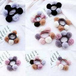 Women PomPom Ball Elastic Hair Rope Ring Tie Scrunchie Ponyt