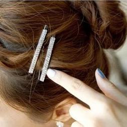 Women's Crystal Rhinestone Hair Clip Barrette Hairpin Bobby