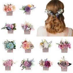 Women's Flower Hair Comb Slide Clips Pins Wedding Bridal Hai