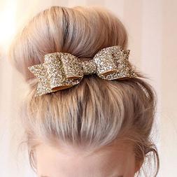 Women's Girl Bling Sequin Big Bowknot Barrette Hairpin Hair