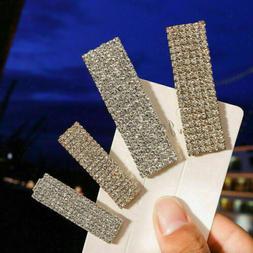 Women's Rhinestone Crystal Geometric Rectangle Hair Clip Sli