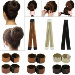 Women's Girls Magic Hair Bun Snap Styling Donut Former Frenc
